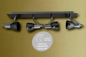 ABAKUS 4 ARM / WAY CEILING LIGHT FITTING GLOSS GUN BLACK  AND CHROME.