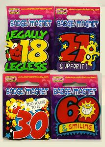 KEY FOB MAGNET BIRTHDAY BADGE BOY GIRL PARTY GIFT 18th 21st 30th 40th 50th 60th