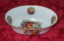 "Andrea by Sadek 9"" Fruit Decorated Oval Vegtable bowl # 8270~ Japan"