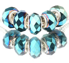 5pcs MURANO plated Crystal bead LAMPWORK fit European Charm Bracelet #F531