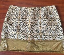 H&M Conscious Collection mini Skirt Gold Sequence Beige Animal Print NWT Size 12