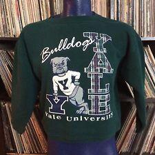 Vtg 80s 90s YALE University Bulldogs Ivy League Plaid Sweatshirt Small