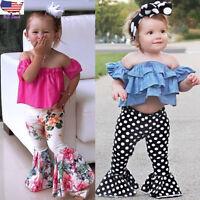 2PCS Toddler Kids Baby Girl Off Shoulder Top Shirt+Floral Flare Pants Outfit Set