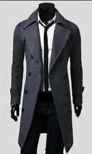 Men Trench Coat Winter Slim Stylish Double Breasted Long Jacket Overcoat