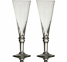 Set of 2 Tall Clear New Ribbed Champagne Flute Wine Bar Wedding Drink Glasses