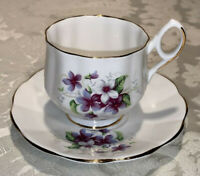 Vintage Royal Dover Bone China Tea Cup & Saucer Purple Flowers - Free Shipping