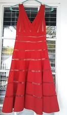 MIKAEL AGHAL DRAPED STRECH TWILL AND TULLE WRAP COCKTAIL RED NUDE DRESS Sz 2