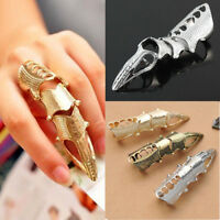 Punk Finger Joint Ring- Vintage Armour Knuckle Gothic Jewellery Silver Gold Gift