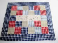 """Vintage Square Quilt Block 16"""" """"Antiques"""" Embroidery Folk Art Pillow Top,Wall EX"""