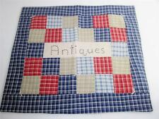 "Vintage Square Quilt Block 16"" ""Antiques"" Embroidery Folk Art Pillow Top,Wall EX"