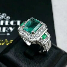 ART DECO 3.21TCW Emerald Diamond 18k solid white gold ring Natural Zambian Three