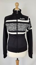 Diadora donna stile retrò nero & bianco ottico 80s Zip Track Jacket, piccoli