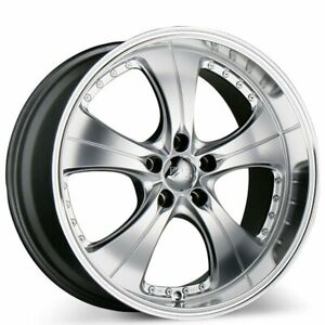 19x8.5 ACE C053 TREND HYPER SILVER w MACHINED LIPS WHEELS SET (B10)