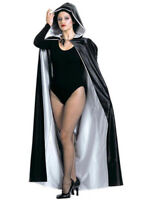 Black and White Reversible Long Hooded Cape