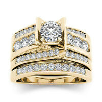 18K Gold Plated Princess Cut White Sapphire CZ Ring Set Zircon Eternity Rings