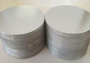 "100 x 4"" Inch ROUND SILVER Thin Cut Edge Cake Boards Cards Sugarcraft Culpitt"