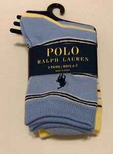 NWT 3 Pairs Polo Ralph Lauren Striped Crew Socks Boys 4-7