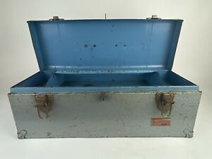"""Old Vintage 19x7x7"""" Blue / Gray Union Super Steel Toolbox w/ Tray, Made in USA"""