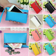 Womens Ladys Card Coin Key Holder Zip PU Leather Wallet Pouch Bag Purse Make UP