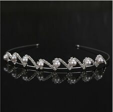 Silver Rhinestone Bridal Crown Tiara Pearl Diamante Wedding Party Prom Headband