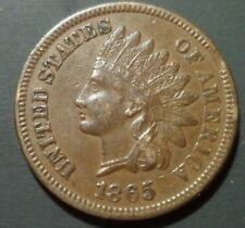 AU PQ 1865 8/8 PL5 Plain Indian Head Cent Snow 14 S-14 Scarce Error RPD w110