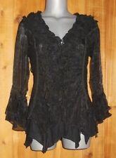 NWT PRETTY ANGEL blouse shirt tunic BOLERO GYPSY ruffles lace VINTAGE black XLG
