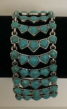 LUCKY BRAND Turquoise Stone Silver-Tone Toggle Statement Bracelet