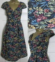 NEW M&S £65 Jacquard Skater Prom Midi Dress Floral Occasion Black Blue 8-22