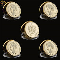 5PCS/Lot 1894-1917 Russian Tsar Emperor Nicholas II Gold Souvenir Coin Collect