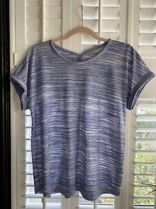 Ladies M&S T-Shirt, Blue & White, Size 14