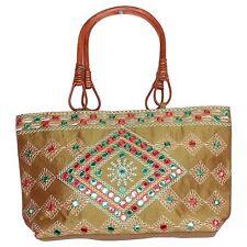 Sequence Work Traditional Indian Women's Handbag Silk Hand Bag With Mirror Work