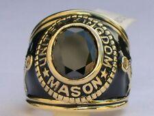 12x10 mm United Kingdom Mason Masonic Black Jet Stone Men Ring Jewelry Size 8