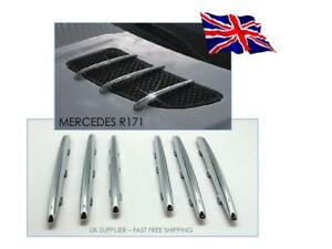 2004-2008 Mercedes Benz R171 SLK Chrome Bonnet Grill Hood fins - UK Supplier