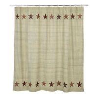 primitive country farmhouse grey &red Abilene Star pattern fabric SHOWER curtain