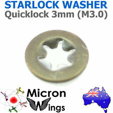10 x Quicklock Starlock 3mm (M3.0) Speed Lock Washer (star lock locking washer)