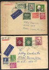 GERMANY 1950's SIX AIR MAIL MULTI FRANKED COVERS ALL TO US