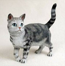 Shorthaired Standing Silver Tabby Cat Figurine Statue Hand Painted Resin Gift
