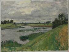 Vintage Rare Original Canvas Old Oil painting Summer landscape Signed