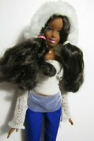BARBIE AFRICAN DOLL LONG BROWN HAIR, BLUE PANTS WHITE HOODED TOP & HIGH HEELS