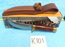 "NAHC HUNTING HERITAGE COLLECT MARBLES 8"" FIXED BLADE KNIFE + SHEATH, BOX K101"