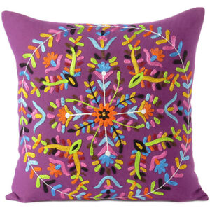 """16"""" Purple Embroidered Sofa Colorful Decorative Throw Couch Pillow Cushion Cover"""