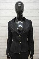 Giacca Donna Max & Co Lana Taglia 40 Jacket Nero Wool Cappotto a Righe Elastico