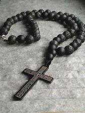Halskette Lavastein perlen Onyx Matt Anhänger Kreuz kette Schmuck Rosenkranz