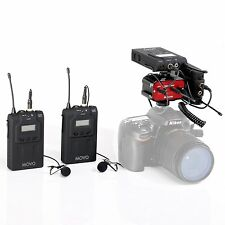 Movo Dual Wireless UHF Lavalier Microphone Bundle w/ Audio Mixer for Cameras