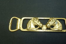 VINTAGE BRASS DOUBLE HORSE HEAD BOTTLE OPENER.....ENGLISH....