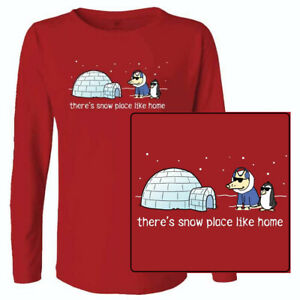 Teddy the Dog T Shirt There's Snow Place Like Home Ladies Long Sleeve Tee Red