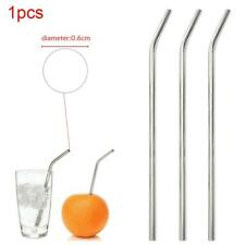 Reusable Stainless Steel Drinking Tube Straw Juice Drinking w/ Cleaner Brush