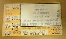 1985 U2 Concert Ticket Stub Jacksonville The Unforgettable Fire Tour Bono Edge