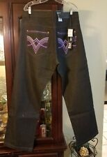 Rich Kid Jeans Mens Size 34 X 32  Black with Neon Purple Stitching