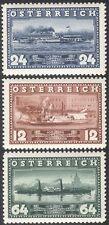 AUTRICHE 1937 vapeur Bateaux/Paddle STEAMERS/Ferry/DANUBE/Transport 3 V Set n24620